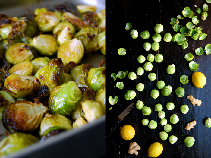 Roasted Brussels Sprouts with Ginger and Lemon