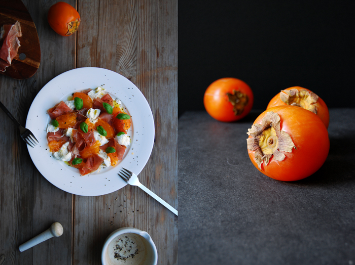 Persimmon, Mozzarella and Basil
