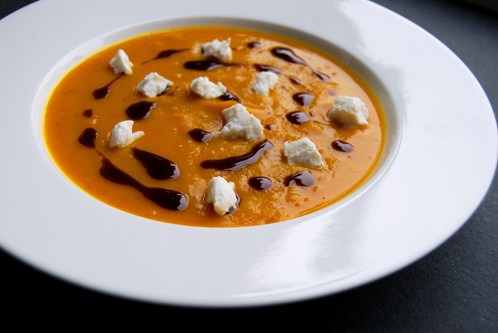 Pumpkin and Sweet Potato Soup with Chèvre
