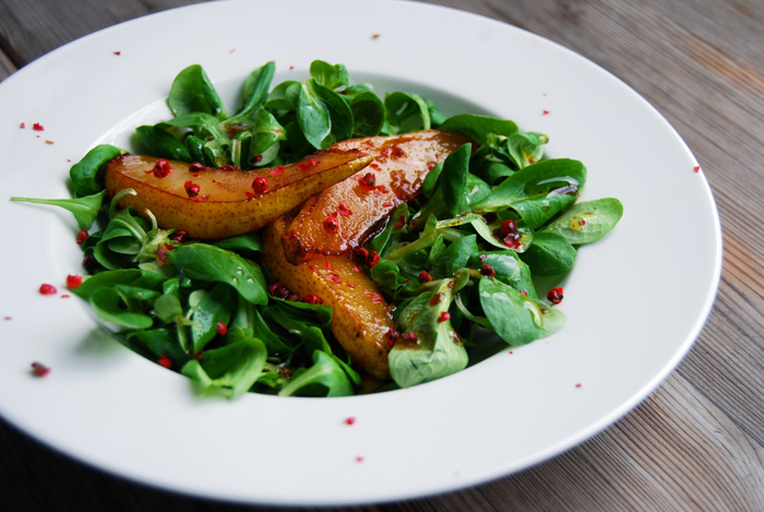 Field Salad with Caramelized Pear and Pink Peppercorns