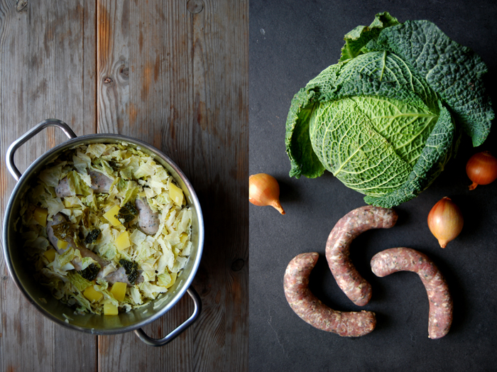 Savoy Cabbage with Coriander and Maltese Sausages