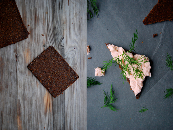 Smoked Salmon Cream Cheese Pumpernickel with Horseradish and Dill