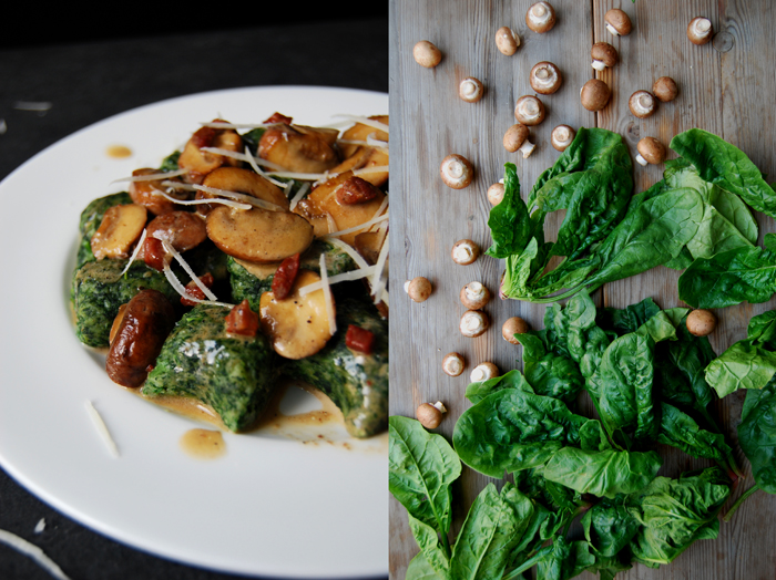 Spinach Gnocchi with creamy Mushrooms