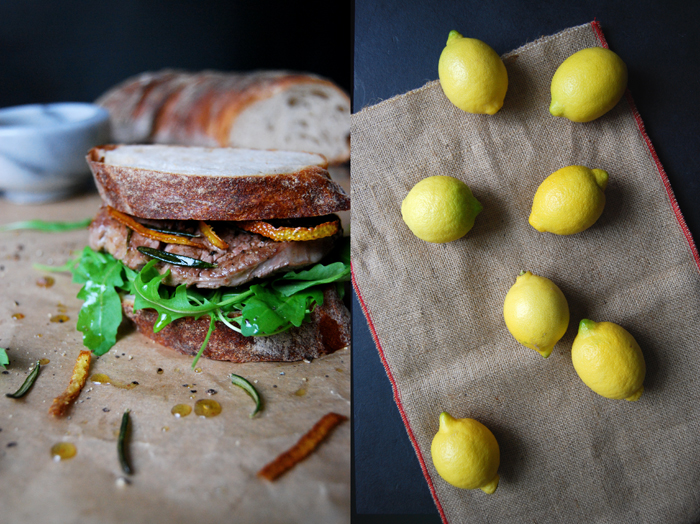 Filet of Beef Sandwich with Roasted Lemon and Rosemary