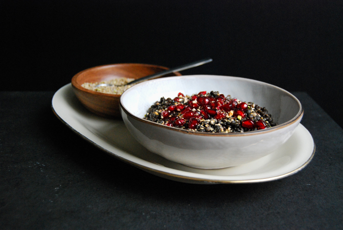 Lentils, Pomegranate and a spicy Nut Dukkah