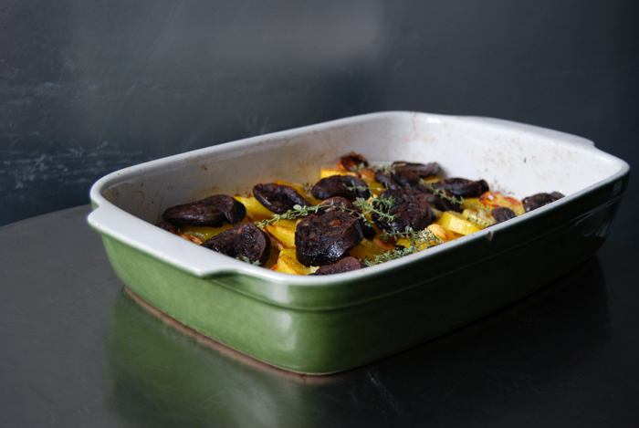 Potato, Apple and Black Pudding Gratin