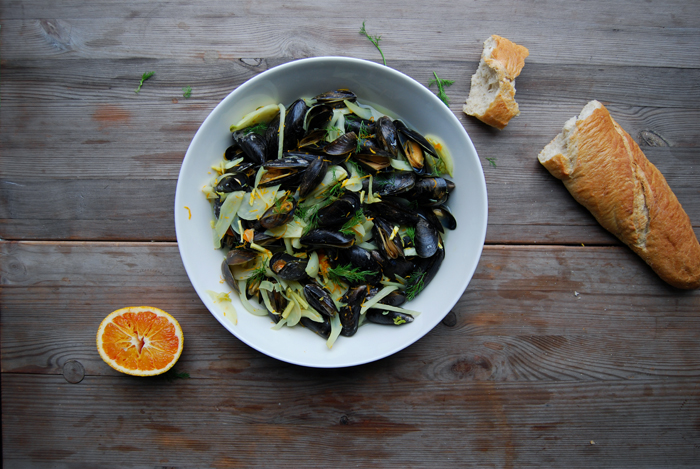 Blood Orange Mussels with Fennel, Ginger and Turmeric