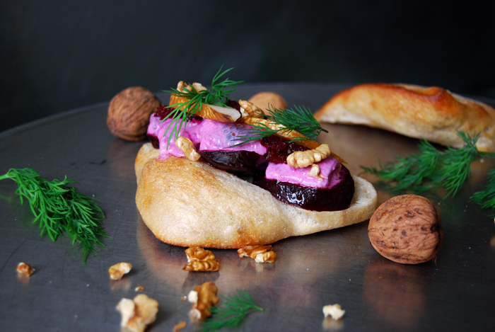 Herring Sandwich with Beetroot and Pear