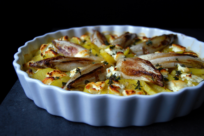 Potato and Endive Gratin with Chèvre
