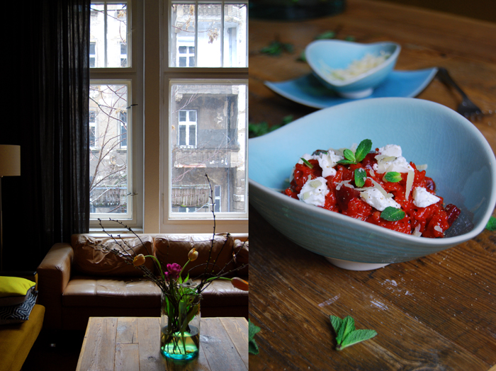 Beetroot Risotto with Chèvre and Mint