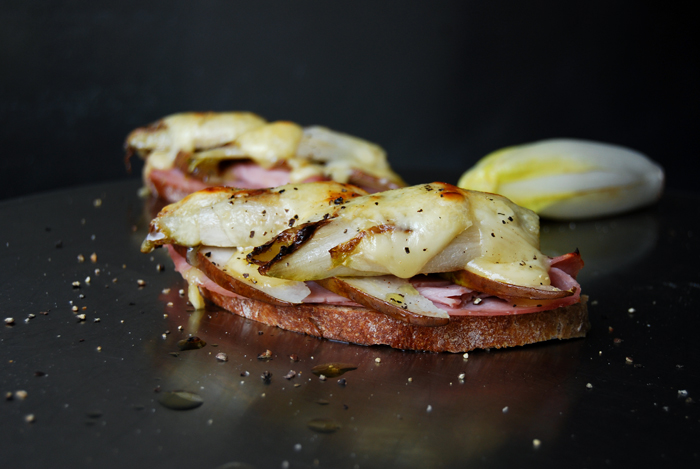 Grilled Endive, Ham, Raclette and Pear Sandwich