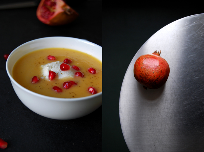 Parsnip and Sweet Potato Soup with Pomegranate and Cardamom Mascarpone