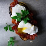 Poached Egg, Grilled Aubergine and Crisp Bacon Sandwich