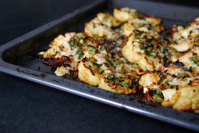 Roasted Cauliflower Wedges with Parmesan, Parsley and Onions
