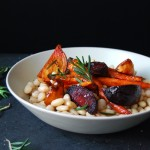 Rosemary Butter Beans with Maple Roast Roots