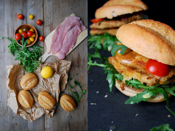 Schnitzel Sandwich with Lemon Butter