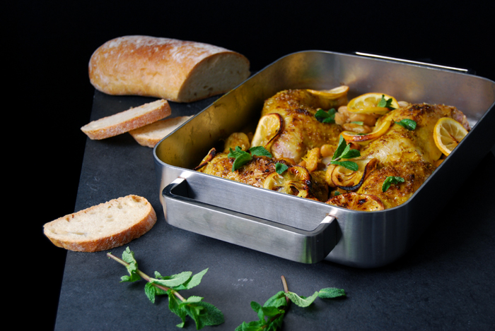 Spice Roast Chicken Legs with Beans and Mint