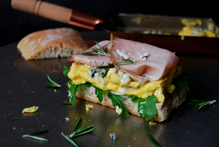 Blue Cheese Omelette and Rosemary Prosciutto Sandwich