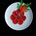 Carpaccio with Ginger, Zest and Parmesan Crust