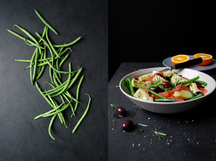 Green Bean, Pink Grapefruit and Artichoke Salad with Kalamata Olives
