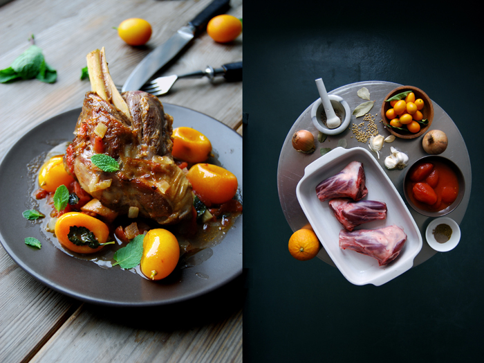 Braised Lamb Shanks with Kumquat, Fennel and Mint