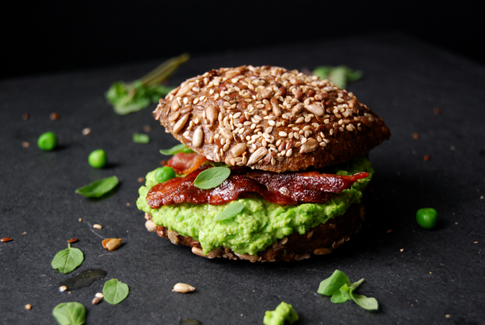 Pea Pesto Honey Bacon Sandwich