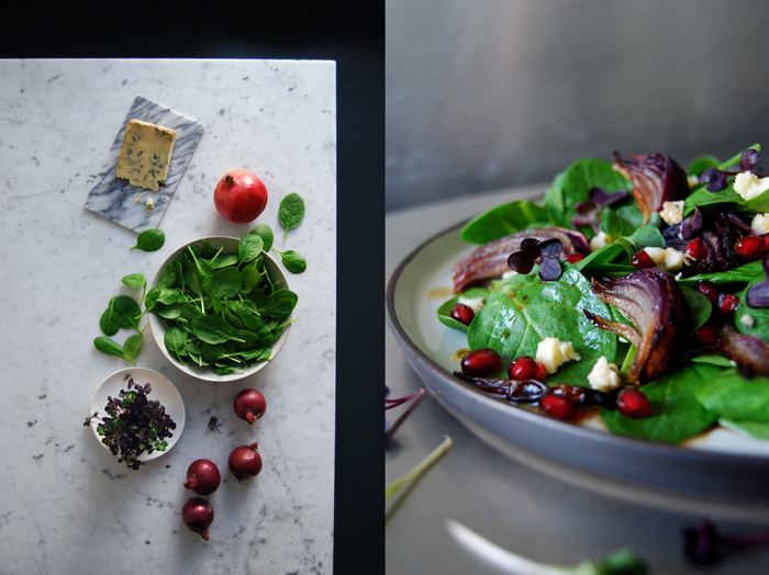 Roasted Onion, Spinach and Pomegranate Salad