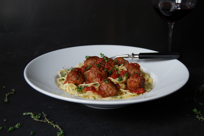 Thyme Meatballs with Pasta and Tomato Sugo