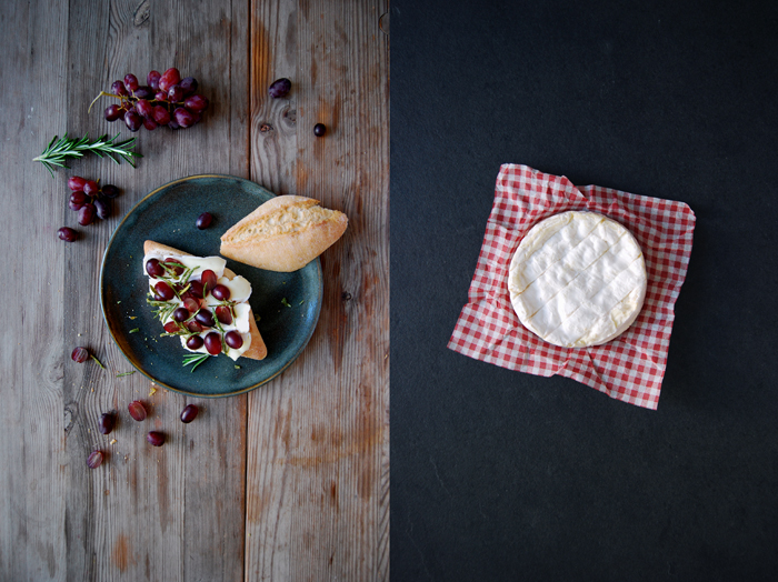 Camembert, Grape and Candied Rosemary Sandwich