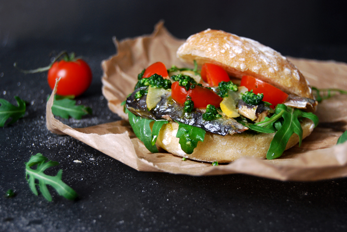 Preserved Sardines and Lemons Sandwich