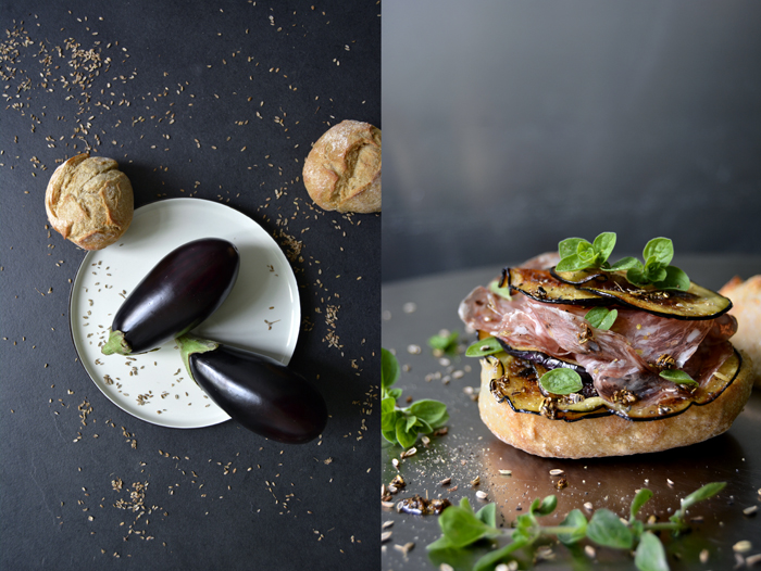 Sautéed Aubergine and Salami Sandwich with Fennel Oil and fresh Oregano