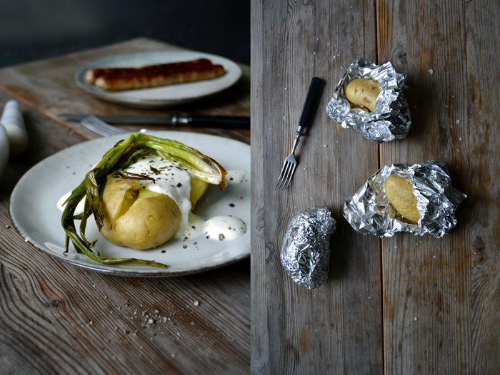 Potatoes with Roast Spring Onions and Garlicky Sour Cream
