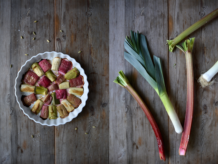 Rhubarb and Leek Gratin