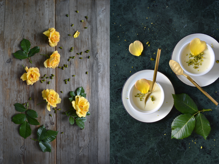 Rosewater Panna Cotta with Ricotta and Pistachios