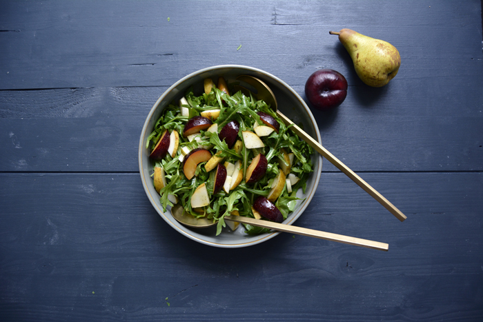 Rucola, Plum, Pear and Orange Blossom Salad