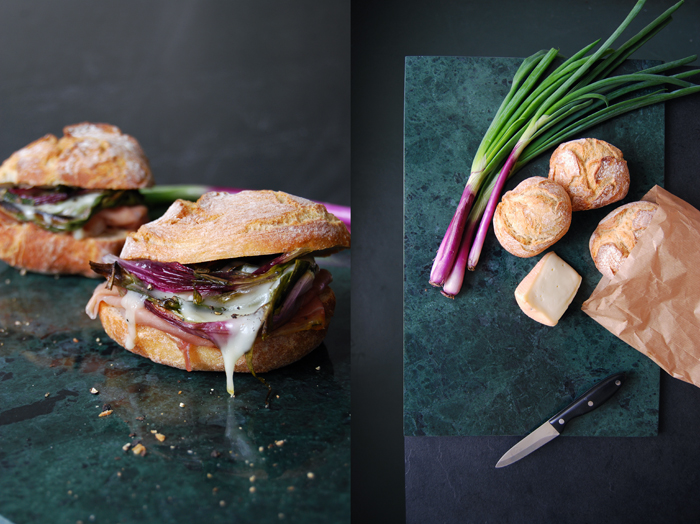 Grilled Spring Onion, Parma Prosciutto and Taleggio Sandwich