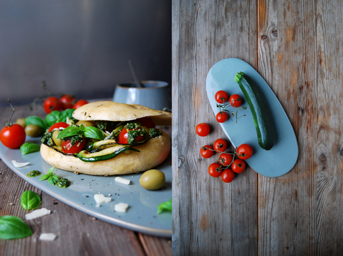 Roasted Zucchini, Cherry Tomato and Pesto Sandwich with Olives