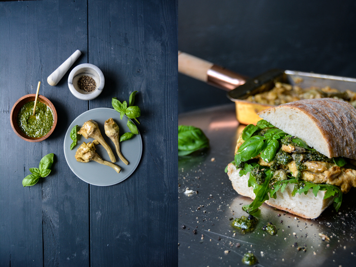 Artichoke Omelette Sandwich with Basil Pesto