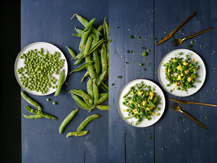 Green Beans and Peas with Tahini Lemon Mayonnaise