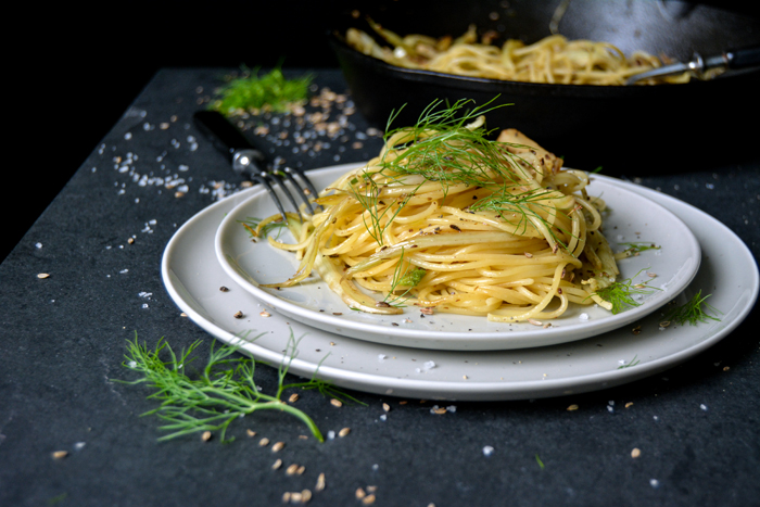 Spaghetti with Pan Roasted Fennel