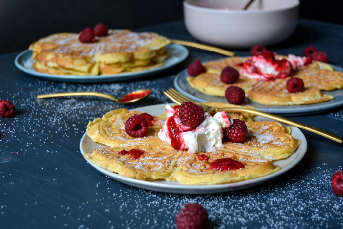 German Waffles with Whipped Raspberry Cream