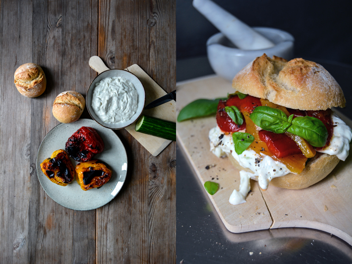 Tzatziki and Grilled Bell Pepper Sandwich