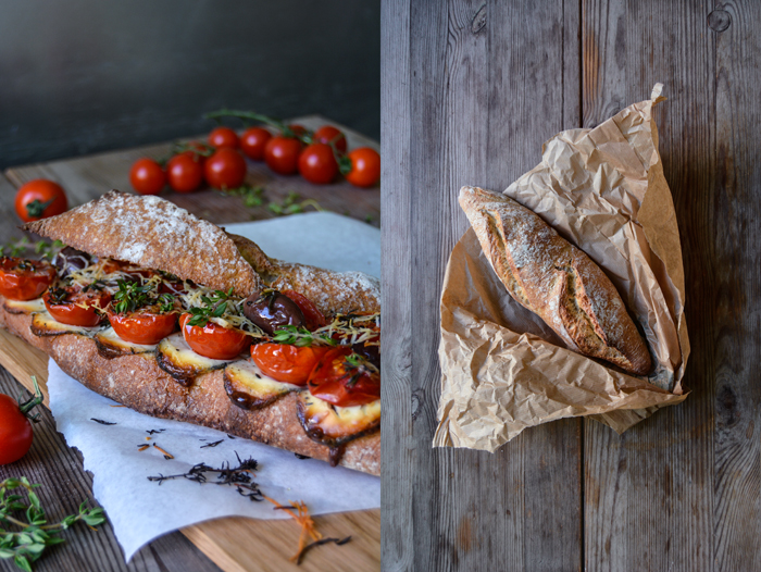 Grilled Tomato, Chèvre and Thyme Baguette Sandwich