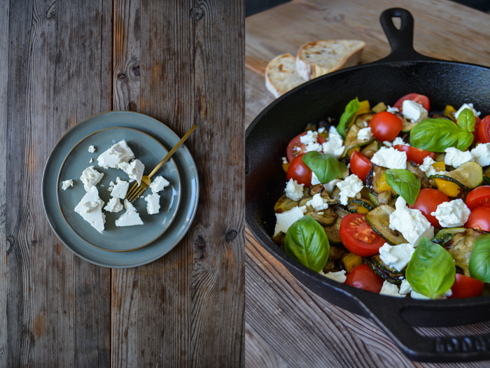 Zucchini, Aubergine and Bell Pepper with Feta and Basil