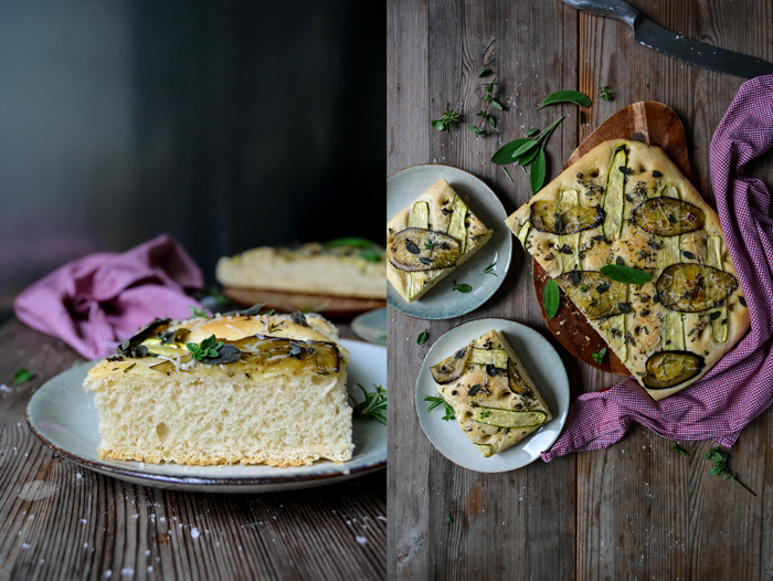 Herb Focaccia with Zucchini and Aubergine