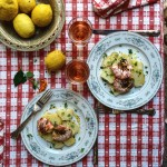 Oregano Potato Salad with Grilled Prawns