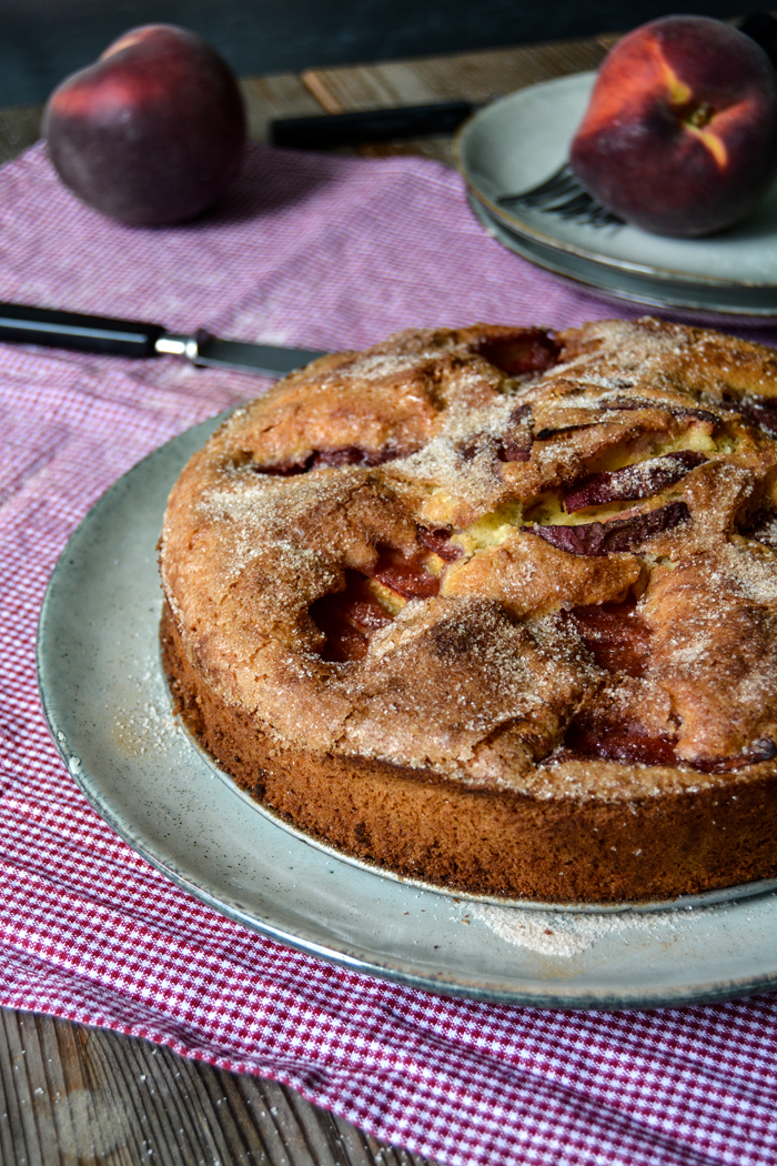 Cinnamon Peach Breakfast Cake With A Crunchy Sugar Crust