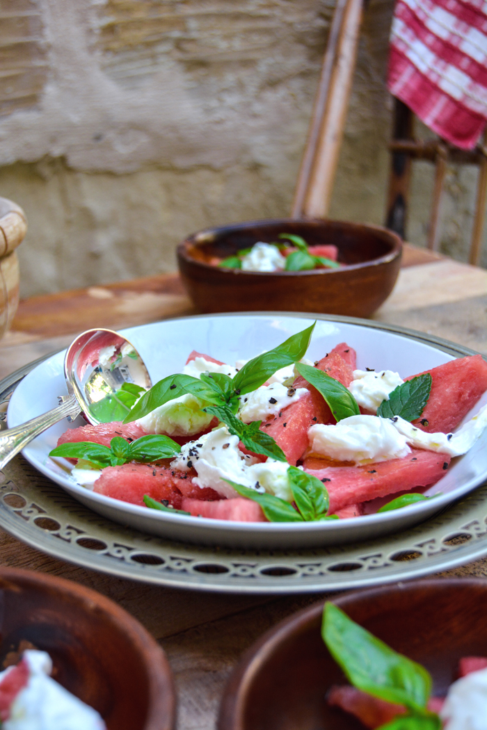 Watermelon with Mozzarella di Bufala, Basil and Mint