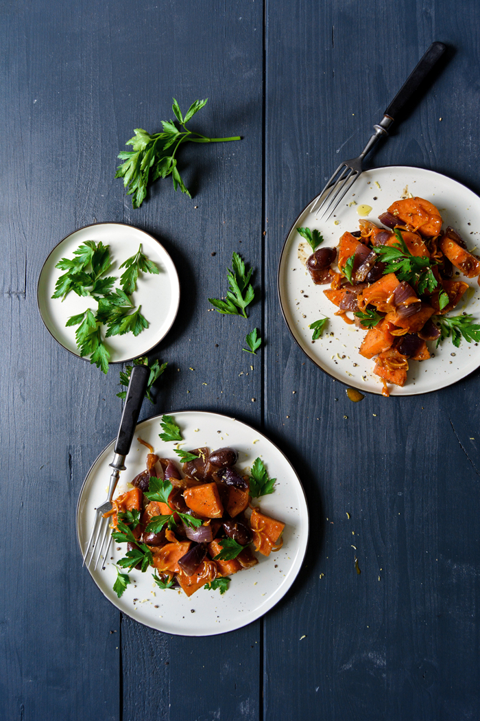 Cumin Cinnamon Sweet Potato with Candied Lemon and Olives