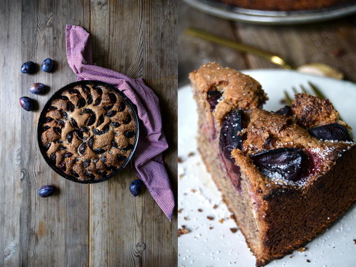 Cinnamony Plum Buckwheat and Hazelnut Cake